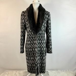 INC INTERNATIONAL CONCEPTS Coat Faux Fur Collar M